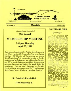 April 1989 Newsletter